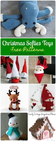 10 Amigurumi Crochet Christmas Softies Toys Free Patterns via @diyhowto