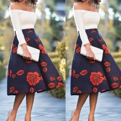 """Navy RED floral full CIRCLE SKIRT PARTY MIDI L/XL New! This is DELIGHTFUL! Circle swing skirt in navy and bold red floral pattern. Has zip and stretch! Waist flat is 17"""" to 18"""" across; length is 27"""". Great weight! So dreamy! Skirts Midi"""