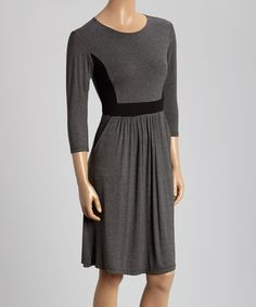 Another great find on #zulily! Charcoal & Black Contrast Three-Quarter Sleeve Dress #zulilyfinds