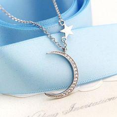 Rhinestoned Moon Pentagram Pendant Necklace