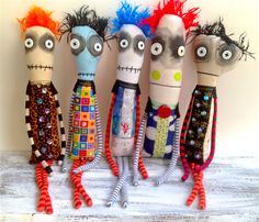 Handmade monster dolls with button eyes and embroidered details, August 2016 by Snotnormal