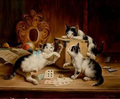"""Kittens Playing Cards"" -- by Carl Reichert (1836 -- 1918, Austrian)"