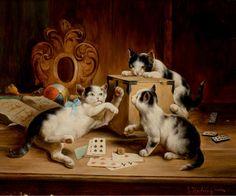 """""""Kittens Playing Cards"""" -- by Carl Reichert (1836 -- 1918, Austrian)"""