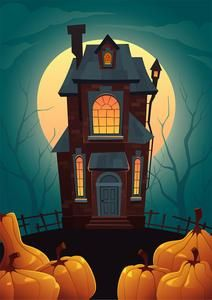 Halloween Garden Flag Polyester Horrible Pumpkin Moonlight Decorative Happy