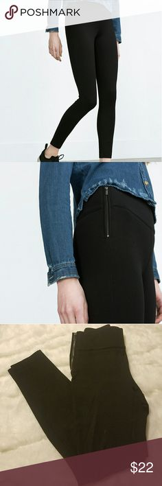Zara Black High Waisted Side Zipper Leggings Not thin material. Both sides have zippers. Zara Pants Leggings