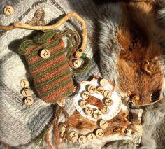 Goddess Harvest Rune Bag drop spun wool Runic  Viking Shaman bag, Norse, Seidr,Heathen, Nalbinded, Holly wood Futhark Runes can be added by Draicraeft on Etsy