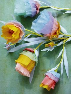 Beautiful Pastel Paper Flowers by Thuss + Farrell Hand Flowers, Diy Flowers, Fabric Flowers, Tissue Paper Flowers, Paper Roses, Flower Paper, Origami, Crafts To Make, Diy Crafts