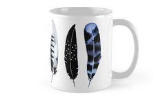 Feather Tribe by amayabrydon. @redbubble  Watercolor Feather design. #watercolor #feather #design #bohemian #birds #feathers #watercolorfeathers #blackandwhite #abstract #art #minimal #artist #bohosoul #bohemiansoul #redbubble #muglove #coffee #mugs #kitchen #cozy