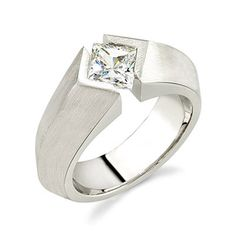 18K White Gold Men's Tension Set, Princess Cut, H Color, SI1 Clarity Diamond Designer Engagement Ring (1.00 Carat) http://www.beckers.com/Detail.aspx?ProdId=875