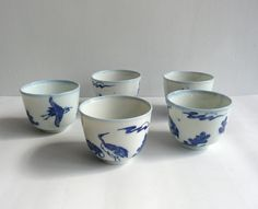Set of 5 porcelain tea cups - Japanese antique - crane and pine - early 20th century - WhatsForPudding #1370