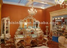 Luxury home dining room furniture,classical dining table set,mirror,cabinet, wooden hand carving(B50827)