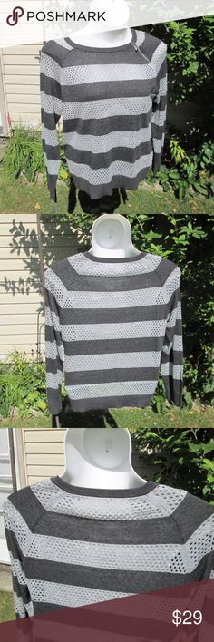 """MK* Soft Slouchy Stripes Boxy top with charcoal gray & silver gray stripes. Silver stripes are perforated. Zipper detail at neck.  Measured flat. 18"""" bust. 26"""" long. On 36"""" x 31"""" x 36"""" mani. 60% cotton 40% viscose Michael Kors Tops"""
