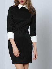 Black White Careers Lapel Bodycon Dress