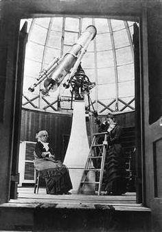 Maria Mitchell, America's first woman astronomer, used this telescope. Here she is with student Mary Whitney in the Vassar College observatory, about 1877. #seriouslyamazing #discoverer