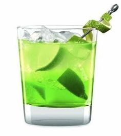 The Grinch   Ingredients:  2 oz Midori  1/2 oz lemon juice  1 tsp simple syrup  1 maraschino cherry for garnish    Instructions:  1. Pour the ingredients into a cocktail shaker with ice.  2. Shake well.  3. Strain into a punch or cocktail glass.  4. Garnish with a maraschino cherry, serve.    Via: cocktails.about.com