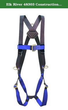 Elk River 48303 Construction Plus D-Ring Harness, Fits Small to X-Large. 3 steel D-ring: at back and hip. Parachute mating buckles on chest and leg straps. Made of polyester. Use for fall arrest and positioning. Fall Protection Harness, Elk River, Three Rings, Safety And Security, Legs, Parks, How To Wear, Construction, Outdoor Recreation