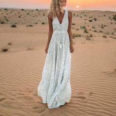 V-Neck Printed Polka Dot Bohemian Maxi Dress                      – Chicgostyle