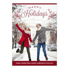 Red Happy Holidays Typography Holiday Photo Card.  This is a great card if you have a similar shot of a snow scene.    Hope I get some good photos of the kids playing in the snow, this card would be perfect.