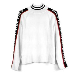 90's Tommy Hilfiger Athletics Funnel Neck Rib-Knit Sweater (€34) ❤ liked on Polyvore featuring tops, sweaters, jumpers, tommy hilfiger top, white sweater, ribbed knit top, rib knit sweater and stretch sweater