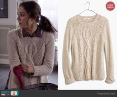 Spencer's beige cable knit sweater with split sides on Pretty Little Liars. Outfit Details: http://wornontv.net/46034/ #PLL