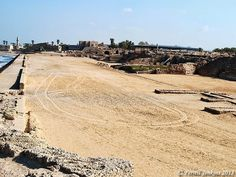 The seaside Hippodrome at Caesarea Maritima. Photo by Ferrell Jenkins. Herod the Great built a hippodrome along the Mediterranean coast at Caesarea Maritima in 10 B.C. to celebrate the opening of the city. In the second century A.D. the south end of the hippodrome was reconstructed as an amphitheater to be used for gladiatorial contests.