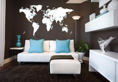 wall sticker design of a white world map on a brown wall