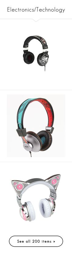 """""""Electronics/Technology"""" by canadian-necromancer ❤ liked on Polyvore featuring headphones, electronics, accessories, music, earphones, men's fashion, men's accessories, men's tech accessories, black and red and hats"""