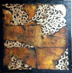Encaustic, pigments, cotton on wood