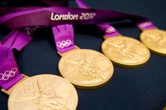 The four gold medals that belong to our Men's Fours Rowing team. Thanks to the Team GB facebook page.