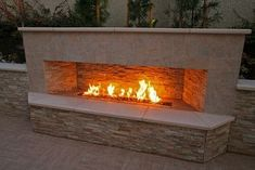 Entrancing Modern Outdoor Fireplace Designs : Entrancing Contemporary Patio With Marvelous Modern Outdoor Gas Fireplace Designs With Stone Wall Accents Also Wide Tile Floor And Tile Wall Modern Outdoor Fireplace, Outdoor Fireplace Designs, Backyard Fireplace, Fire Pit Backyard, Backyard Patio, Outdoor Fireplaces, Outdoor Living, Fireplace Ideas, Modern Fireplaces