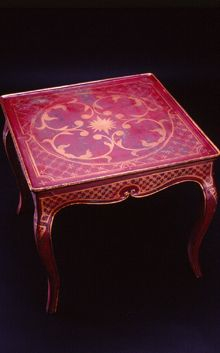 Whimsical Hand Painted Art Furniture | Hand painted reproduction Italian card table.