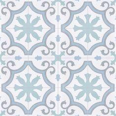 Merola Tile Lacour Aqua Encaustic in. Porcelain Floor and Wall Tile sq. / - The Home Depot Bathroom Flooring, Kitchen Flooring, Patchwork Tiles, Creta, Wall Patterns, Stone Tiles, Porcelain Tile, Texture, Tile Floor