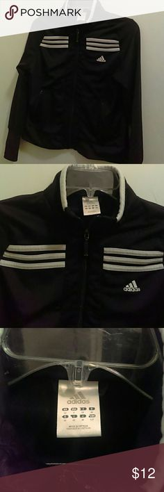 Adidas Youth Track Style Zip Up Jacket, Size Small Gently used great  condition black and white child's youth track jacket, zip up. Two front zip  pockets.