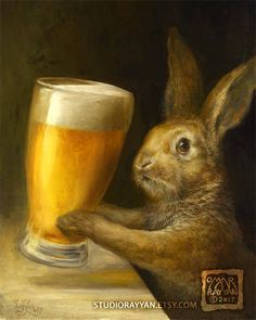 Bunny with Beer (print) bar decor rabbit brewery illustration artwork Bunny Art, Cute Bunny, Legolas, Omar Rayyan, Lapin Art, Funny Animals, Cute Animals, Rabbit Art, Bunny Rabbit