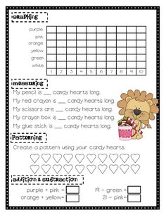candy heart math 2- fun for Valentine's Day