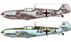 "Two profiles of carrier-based Messerschmitt Bf-109T ""Tonis"" with arrestor hooks and catapult cradle connectors. Images via wingspalette.ru; illustrations by Teodor Liviu Morosanu"
