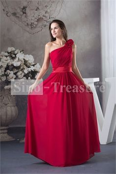 Chiffon/Silk-like Satin Ruffles Floor-Length A-line Bridesmaid Dress -Wedding  #prom dresses under 200  chiffon  lovely prom dress  popular prom gowns -  #dresses for night club,  plus size prom dress  girl's fashion,  2013 prom gowns  #pretty prom dress  #cheap prom dress