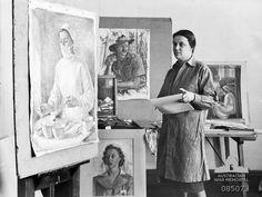 Heysen in her Melbourne studio finishing paintings begun in New Guinea for the official war art scheme. Australian Painting, Australian Artists, Australian Photography, Environmental Portraits, Painting Studio, Studio Portraits, Artist At Work, Contemporary Artists, Art History