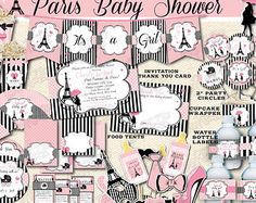 Paris Birthday Package Printable Paris Party by ItsAllAboutKidz Paris Party Decorations, First Birthday Party Decorations, Birthday Party Invitations, Birthday Ideas, Baby Shower Paris, Paris Birthday Parties, 10th Birthday, Birthday Packages, Paris Theme