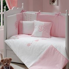 love the pink & white Baby Nursery Bedding, Cot Bedding, Baby Bedroom, Baby Sheets, Cot Sheets, Baby Pillows, Girl Decor, Cool Baby Stuff, Girl Room