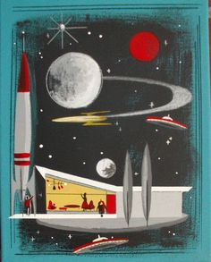 EL GATO GOMEZ PAINTING RETRO 1960S OUTER SPACE SHIP ROCKET SCI-FI ATOMICROBOT #Modernism