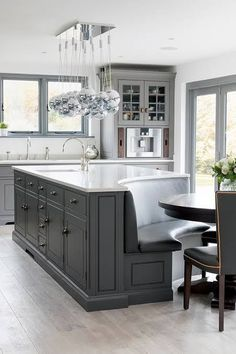 Home Interior Cocina Gray and white-top curved kitchen island.Home Interior Cocina Gray and white-top curved kitchen island Living Room Kitchen, Home Decor Kitchen, Diy Kitchen, Kitchen Ideas, Eclectic Kitchen, Kitchen Cabinets, Kitchen Inspiration, Kitchen Pantries, Grey Cabinets
