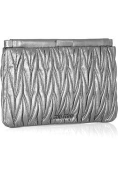 Metallic matelassé leather clutch, MIU MIU