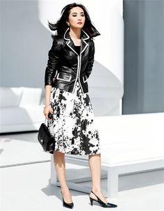 Damen Lederjacke mit Kontrastkanten, Weiter Rock aus Baumwolle, Armspange mit grossen Zierperlen