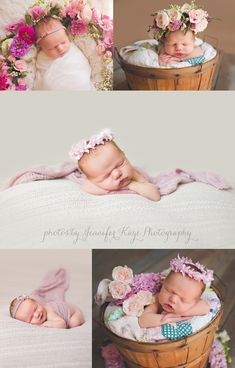 Newborn with Flowers | Newborn Baby Photography | Naperville Event Florist Baby floral crown, baby with flowers, newborn photos baby girl  Photo by Jennifer Kaye Photography, Flowers + Baby by Kio Kreations