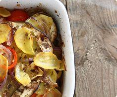 vegetarian-diaries.com: Röstkartofflen mit Aubergine, Tomaten und roten Zwiebeln