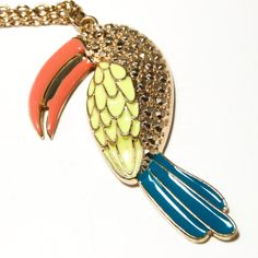Vintage 1980s Summer Fun Unsigned Fantastic Figural Coral Yellow and Blue Enamel Toucan Penant on Gold Tone Chain