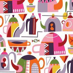 Whimsicsl tea pots, coffee pots and cups.
