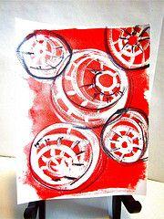 my art, red background