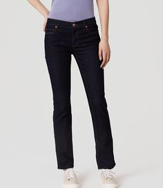 Image of Petite Curvy Straight Leg Jeans in Dark Rinse Wash